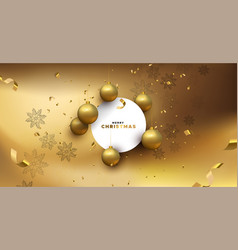 merry christmas luxury gold card template vector image