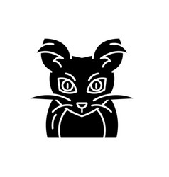 monster mouse black icon sign on isolated vector image