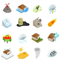 Natural disaster icons set isometric 3d style vector image