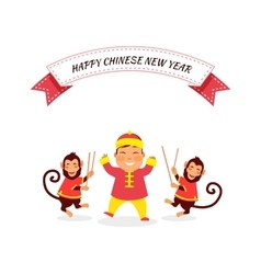 New Year Background with Monkey vector image