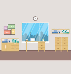 office space with big window and city landscape vector image