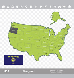 oregon flag and map vector image