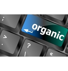 Organic word on green keyboard button vector
