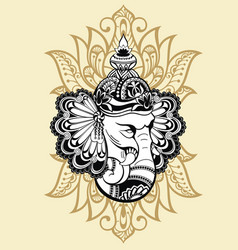 Ornament beautiful card with god ganesha vector