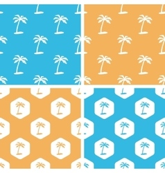 Palm tree pattern set colored vector