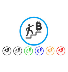 Person steps to bitcoin rounded icon vector