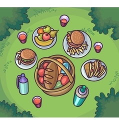 Picnic food in the meadow Flat cartoon outdoor vector