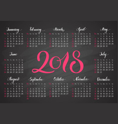 Pocket calendar 2018 in dark colors lettering vector