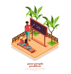 Poor people isometric composition vector