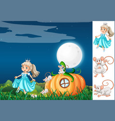 princess with mouse at night vector image