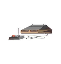 Retro joypad video game control with console vector