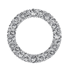 round frame made of realistic shining diamonds vector image