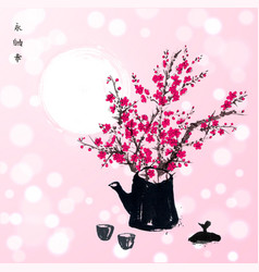 sakura branches in old teapot traditional vector image