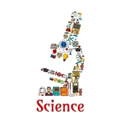 Science symbol in shape of microscope vector image
