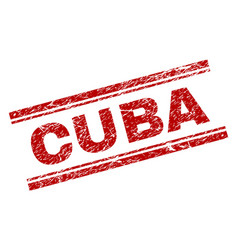 Scratched textured cuba stamp seal vector