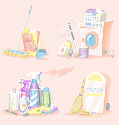set cleaning tools washing machine detergents vector image