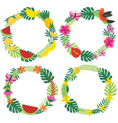 set of isolated tropical wreaths vector image