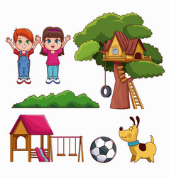 set of kids park icons vector image