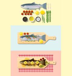 Set of salmon steak recipe vector