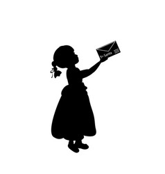 silhouette child holds letter for santa happy vector image