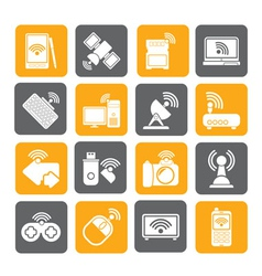 Silhouette Wireless and communications icons vector image