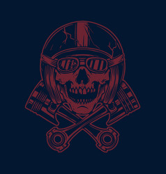 Skull in racer helmet and crossed pistons design vector