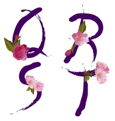 Spring alphabet with gentle sakura flowers QRST vector