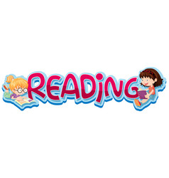 Sticker design for word reading with two kids vector