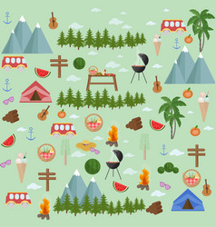 summer set barbecue theme pattern vector image