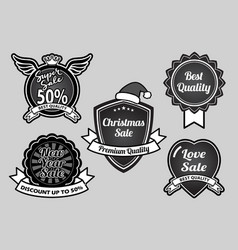 super sale christmas and new year badges vector image