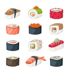 Sushi roll with salmon smoked eel selective food vector image