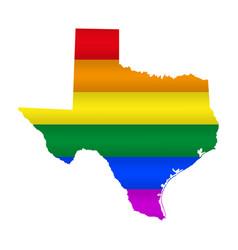 Texas lgbt flag map vector