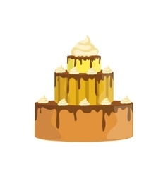 Three Level Cake With Chocolate Syrup Decorated vector