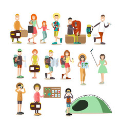 Tourist people flat icon set vector