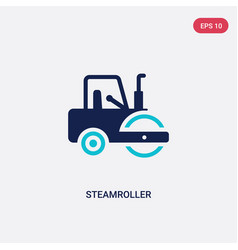 Two color steamroller icon from construction vector