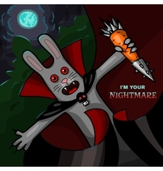 Vampire rabbit with steel carrot vector image