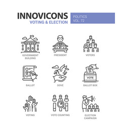 voting and election - set of modern thin line vector image