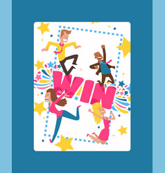 win sign with bright lines star shapes poster vector image