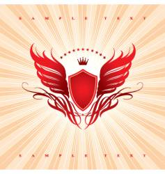 wings shield and crown vector image