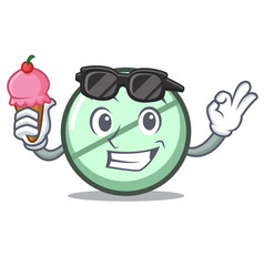 with ice cream drug tablet character cartoon vector image
