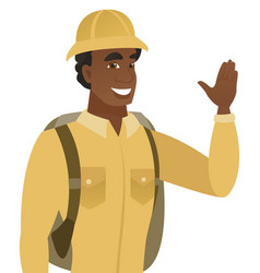 Young african-american traveler waving his hand vector