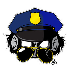 zombie invasion paper mask - police officer vector image