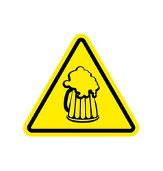 beer warning sign yellow alcohol hazard attention vector image vector image