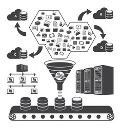 big data icons set cloud computing concept vector image vector image