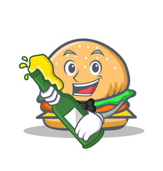 burger character fast food with beer vector image vector image
