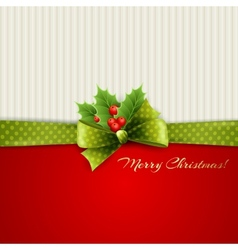 Christmas decoration with holly leaves vector image vector image
