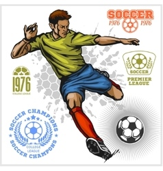 Colorful Soccer Player and football logos vector image
