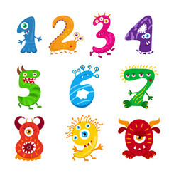 funny cartoon numbers monster set collection vector image vector image