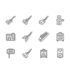 Guitars black line icons set vector image vector image