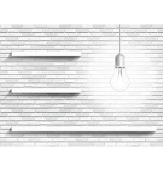 lamp and shelves on the brick wall background vector image vector image